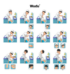 Complete set of muslim wudu or ablution guide vector