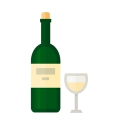 Glass and bottle of wine vector