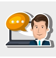 Person communicating online isolated icon design vector