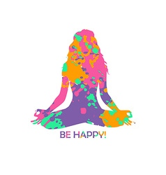 Colorful yoga lotus pose woman silhouette vector