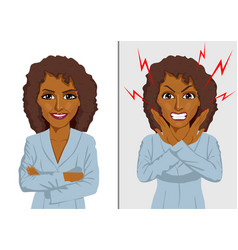 Angry and happy african american businesswoman vector