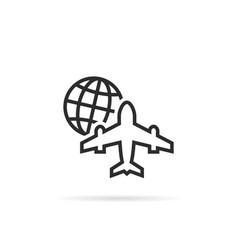 black thin line worldwide global air vector image