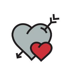 Cartoon heart arrow icon red color vector