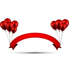 Celebrate red ribbon background with balloons vector