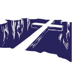 Christian wooden cross lying over the chasm vector