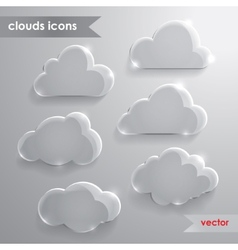 Cloud icons with long shadow vector image