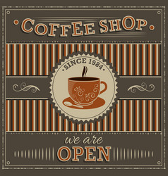 coffee shop vintage label with orange cup of vector image vector image