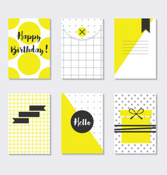 cute assorted yellow and white trendy patterns vector image vector image