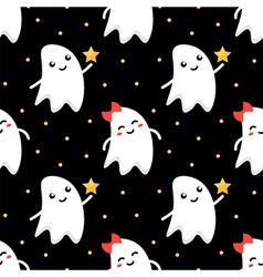 Cute ghosts halloween seamless pattern background vector image