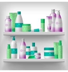 Female cosmetic on shelves vector