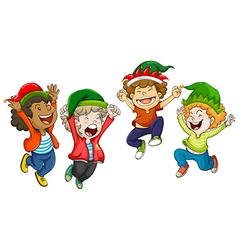 Four boys wearing christmas hats vector