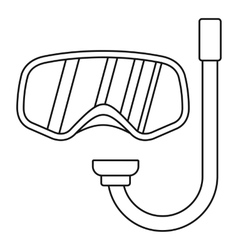 Goggles and tube for diving icon outline style vector image