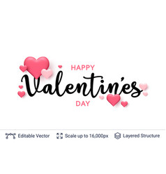 Happy valentines day text and 3d hearts on white vector