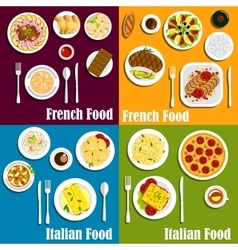 Italy and France cuisine dishes vector image