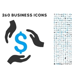 Money care hands icon with flat set vector