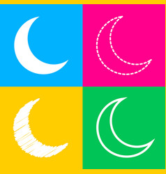 Moon sign four styles of icon on vector