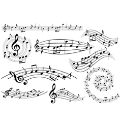 music design elements with notes - set vector image