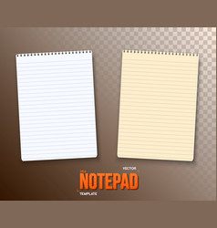 Notepad set paper notebook template vector