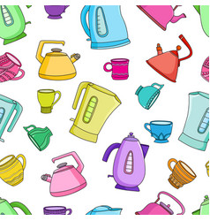 seamless pattern with cups of tea and vector image vector image