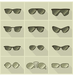 set of glasses in vintage style vector image vector image