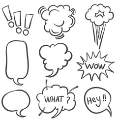 Set of text balloon style doodles vector