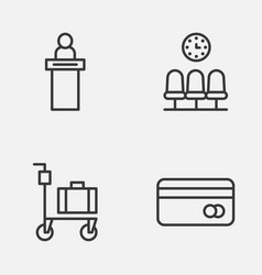 Traveling icons set collection of suitcase vector