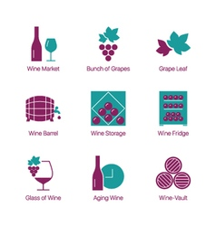wine color icons white vector image