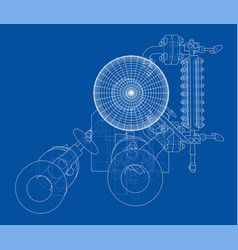 wire-frame industrial equipment vector image
