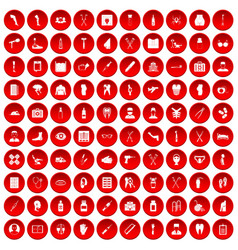100 medical care icons set red vector