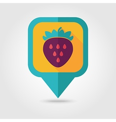 Strawberry flat pin map icon berry fruit vector