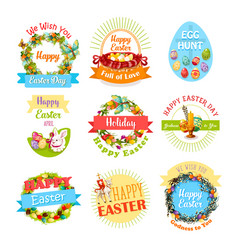 Easter egg and rabbit icon set for holiday design vector