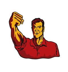 Man with clenched fist vector