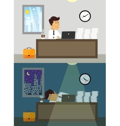 Office worker day and night vector