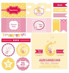 Design elements - baby shower bunny theme vector