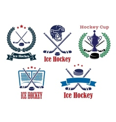 Ice Hockey sporting heraldic emblems and symbols vector image