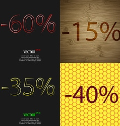15 35 40 icon set of percent discount on abstract vector