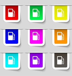 Auto gas station icon sign set of multicolored vector