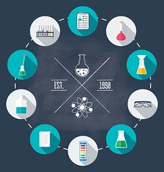 Chemical laboratory flat icon set scientific vector