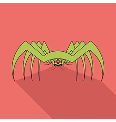 Spider flat icon with long shadow vector