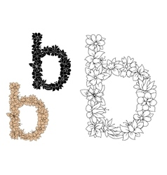 Lower case letter b with floral elements vector