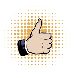 Hand doing a thumb up comics icon vector