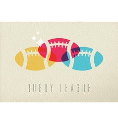 Colorful rugby ball sport concept background vector image