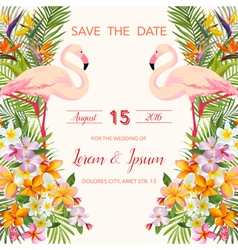 Wedding card tropical flowers flamingo vector