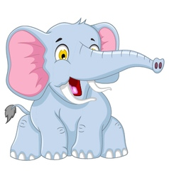 Cute elephant cartoon posing vector