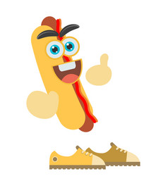 A cartoon representing a funny hot dog vector