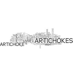 artichokes are a strange but healthy food text vector image vector image