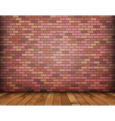 Background with bricks and wooden floor vector image vector image