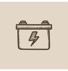 Car battery sketch icon vector