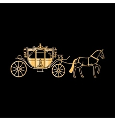 Carriage golden silhouette with horse vector