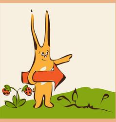 cartoon cute rabbit on grass with arrow vector image vector image